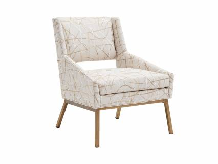 Amani Upholstered Chair With Bright Brass Base